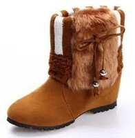 Women Winter Boots Height Increasing Fur Suede Boots for Women Fashion Cotton-Padded Shoes Tassel Ankle Boots Heels 6cm