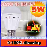 100pcs/lot 5w dimmable Led Driver AC 220V to DC 12V - 16V Power supply for bulb spotlight Light transformer