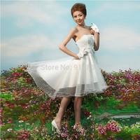 New 2014 Women Wedding Formal Dress Bride Organza Short Wedding Dresses Party Gowns Vestido De Noiva Casamento