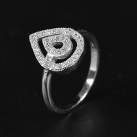 New  fashion 925 sterling silver rings for girl in trend style zircon double water drops shaped rings for party or wedding