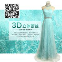 Halter-neck formal dress dress summer ice blue lace romantic yarn slim evening dress