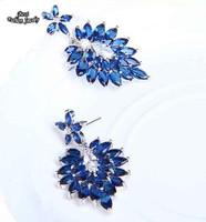 Navy Blue Full Synthetic Gemstone  Zircon Drop Earring Women Fashion Earring Fine Jewelry ZC029ER