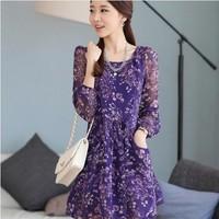 2014 autumn rustic chiffon one-piece dress elegant long-sleeve dress slim a