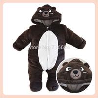 Cute big brown bear fleece animal footie pajamas winter Thicken animal shape overalls for kids free shipping 2014