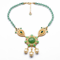 Famous Brand Pearl and Green Beaded Chain Necklace 2014 Fashion Jewelry New Arrvial Free Shipping