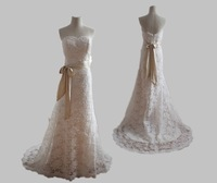 2014 New High Quality Ivory strapless A-line sweep  Embrioidered Lace on Net Wedding Dress
