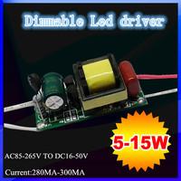 DHL/FEDEX Dimmable 5W/6W/7W/8W/9W/10W/12W/ 15W Led power supply ,5-15W led light transformer for celing ,bulb driver