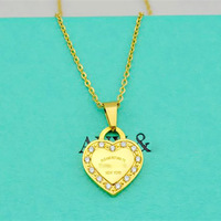 Luxury Brand Crystal Rhinestone Heart Pendant Necklace Short Chain Titanium Stainless Steel Necklace 18K White/Yellow/Rose Gold