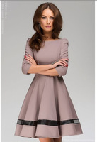 hot sale women clothes 2014 autumn new women dress ladies fashion solid color round neck pleated dress sleeve work wear