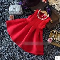 [retail] hot sale girls autumn winter fashion princess red dress kids christmas dress 541