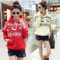 S-XL 2014 Autumn winter Women long sleeve fleece Lining thick Deer hoodie sweatshirt/New year coat Christmas clothing