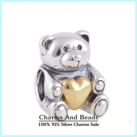Silver & Gold Bear Thread Charms With Golden Heart 925 Sterling Silver DIY Animals Women Jewelry Fits Bracelet Design
