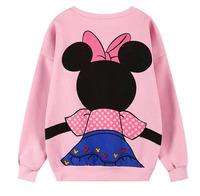 DX-02 2014 fall fashion for women Pink Zipper Harajuku Mickey Loose Fashion Casual Sportswear Fleece Pullover sport  Love pink