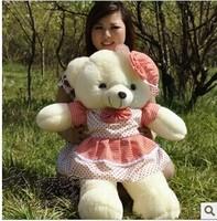 new big lovely red skirt teddy bear toy cute red check hat teddy bear doll bear doll gift doll about 80cm