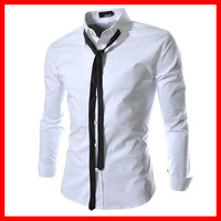 Men's Western  Fashion Pure Color Long Sleeve Shirts , Mens Casual Slim Fit Stylish Mens Dress Shirts ,Present Tie, M-2XL,G2920