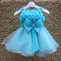 Frozen Dress Costume Vestidos Infantis Blue Girls Dress Frozen Elsa Dress Big Bowknot Princess Dress With Rhinestone WB-30