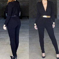 Rompers Womens Jumpsuit 2014 macacao feminino e macaquinhos macaquinhos mulheres Bodycon Jumpsuit Long Black Overalls
