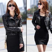 Free shipping 2014 Vintage Womens Slim Biker Motorcycle PU Soft Leather Zipper Jacket Coat Black