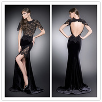 2014 Sexy Side Slit Open Back Lace Velvet Sheath Evening Dresses High Neckline vestidos de fiesta special occasion gowns