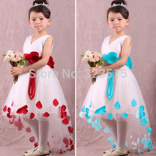 Hot Sales Popular Christmas Baby Girls Kids Flower Petals Party Wedding Prom Fancy Dress(China (Mainland))
