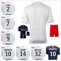 14/15 Ibrahimovic DAVID LUIZ home away soccer football jersey + Shorts MATUIDI LUCAS VERRATTI 2015 best quality soccer uniforms