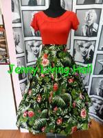 147cm*100cm 50s vintage dress fabric Retro black cotton stretch poplin green leaves red roses fabrics DIY