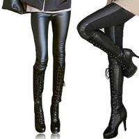 2014 Winter new Korean ladies soild leather pants Slim thin feet thick velvet warm stretch stitching leather pants S-3XL