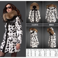 Free shipping France Brand Monclearing New Design winter women hoodie jacket lady White goose down wadded coat with Fur hat