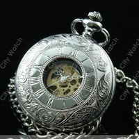 2014 new arrival retro vintage men Roman Number Mechanical Pocket Watch antique Silver pocket & fob watches wholesale