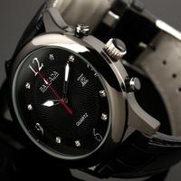 ESS Classic Antique Black Dial Elegant Men's Auto Date Display Leather Band Man's Quartz Watch WM296-1