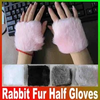 2014 New Women Hand winter warm imitation rabbit fur Half gloves Computer fingerless maomao short gloves wholesale Free Shipping