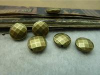 50Pcs Antique Bronze Tone Flat Round Alloy Beads DIY Jewelry Making