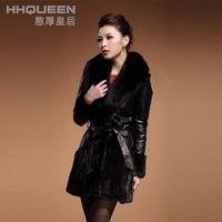 2014 New Arrived Winter/Autumn Luxury Women's Faux Fur Coat Leather Outerwear Snowsuit Long Sleeve Jacket Black
