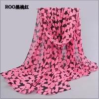 New winter ms printing biscuits bowknot flocking chiffon emulation silk scarf