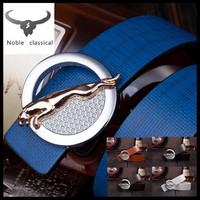 Jaguar buckle 2014 fashion brand design belts jeans belt 5 colors men/women's Genuine Leather belt