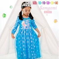 New kids Frozen Elsa dress girls lovely long sleeve princess party dress baby cute lace dresses wholesale 5pcs/lot