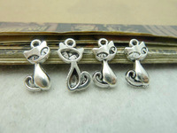 50Pcs Antique Silver Tone Cat Charms DIY Jewelry Making