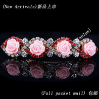Free Shipping Women Crystal Rose Flower French Hair Barrette Clips Women Fashion Accessories