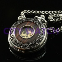 Silver Wood Inlay Cover Mechanical Pocket Watch retro vintage designer design steampunk for men gift wholesale