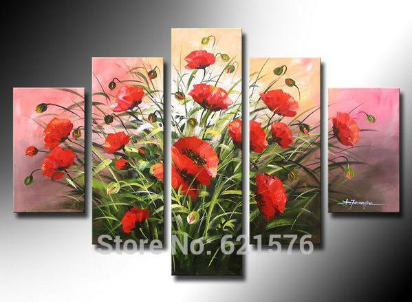 Pintado à mão modern arte imagem para sala de estar decoração da abstrato lush papoila de milho flores pintura a óleo sobre tela(China (Mainland))