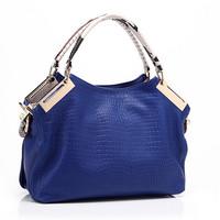 Free shipping wholesale retail blue navy black crocodile leather women  handbag
