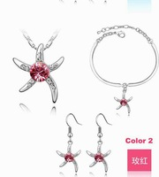 Rose red Free Shipping Starfish Fashion Crystal Jewelry set Plating Platinum #18KS062-2