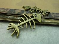 20Pcs Antique Bronze Tone Fish Bone Charms DIY Jewelry Making