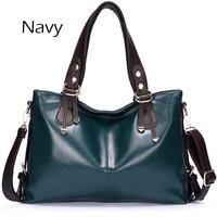 Free shipping genuine leather weidi brand black wine red navy cream deep green women handbag large capacity women messenger bag