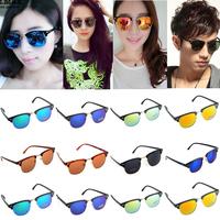 2014 Coating Sunglass Retro Classic Men Women Eyewear Reflective Lens Sunglasses Aviator Sunglass Black Frame