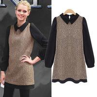2014 new antumn European and American fashion women soild long-sleeved woolen work dress  plus size M-3XL