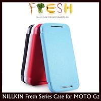 NILLKIN Fresh Series Sidde Open Flip Leather Case for MOTO G2, Moto G+1, XT1068, XT1069 + 10 pcs/lot Free Shipping