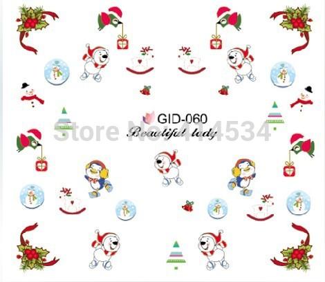 Imported Christmas Nail polish 3D Stereo Water Transfers Nail Stickers ,DIY luminous decorations Nails,24designs Nail sticker(China (Mainland))