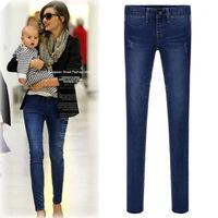 2014 new antumn European and American fashion women soild denim European leg trousers tight pencil pants feet