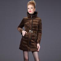 Rara medium-long down coat female winter 2014 fashion gold velvet slim down coat outerwear